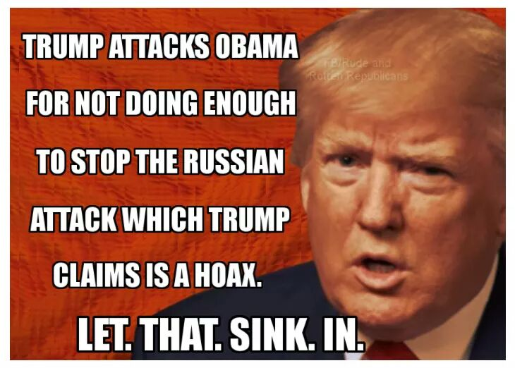 #Trump blames the #Russia #hack on #Obama...the one that he calls #FakeNews <br>http://pic.twitter.com/4tMKNNyYiw