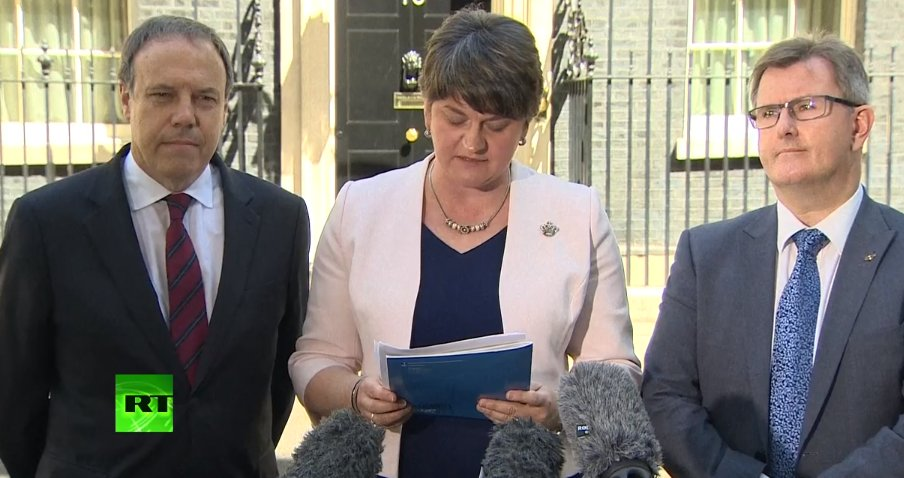 WATCH LIVE: @DUPleader Arlene Foster speaks after signing deal with @C...