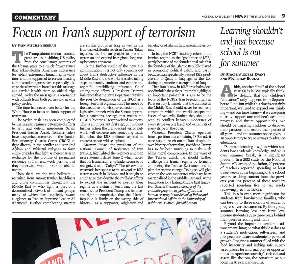 Trump is right to focus on #Iran&#39;s support of terrorism, @ProfSheehan in the @baltimoresun  http:// fw.to/Kzhi5bl  &nbsp;   #FreeIran #BlacklistIRGC<br>http://pic.twitter.com/F9yVY5ObZD