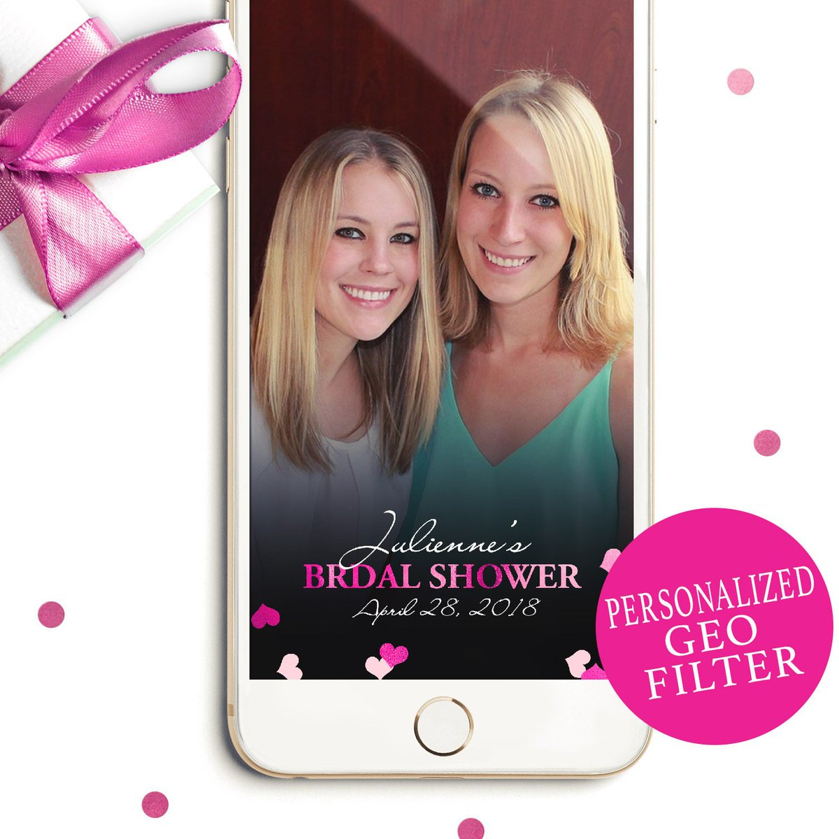Hot Pink Confetti Bridal Shower Geofilter #BridalShower #Geofilter #SnapchatFilter  http:// etsy.me/2s6Kfh4  &nbsp;  <br>http://pic.twitter.com/fhQM0CRsqL