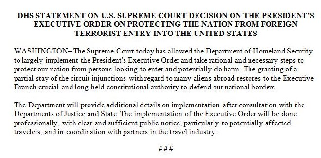 Based on SCOTUS ruling, DHS says it's ready to carry out the president's travel ban order.