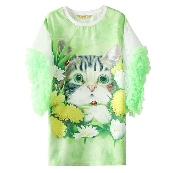 Whimsical Floral Cat with Ruffle Sleeves