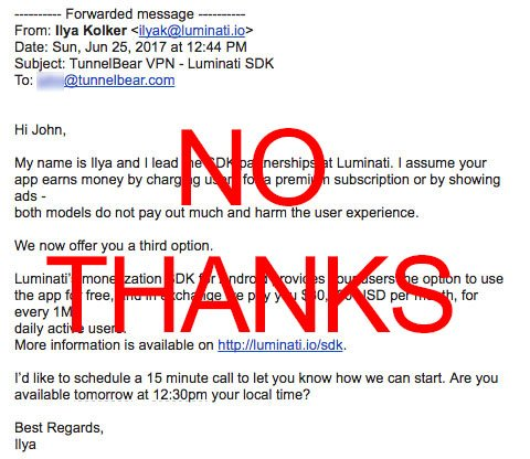 Take a hint Hola/Luminati, we don't sell our users #privacy or bandwidth #facepalm<br>http://pic.twitter.com/g0wUvg0vSu