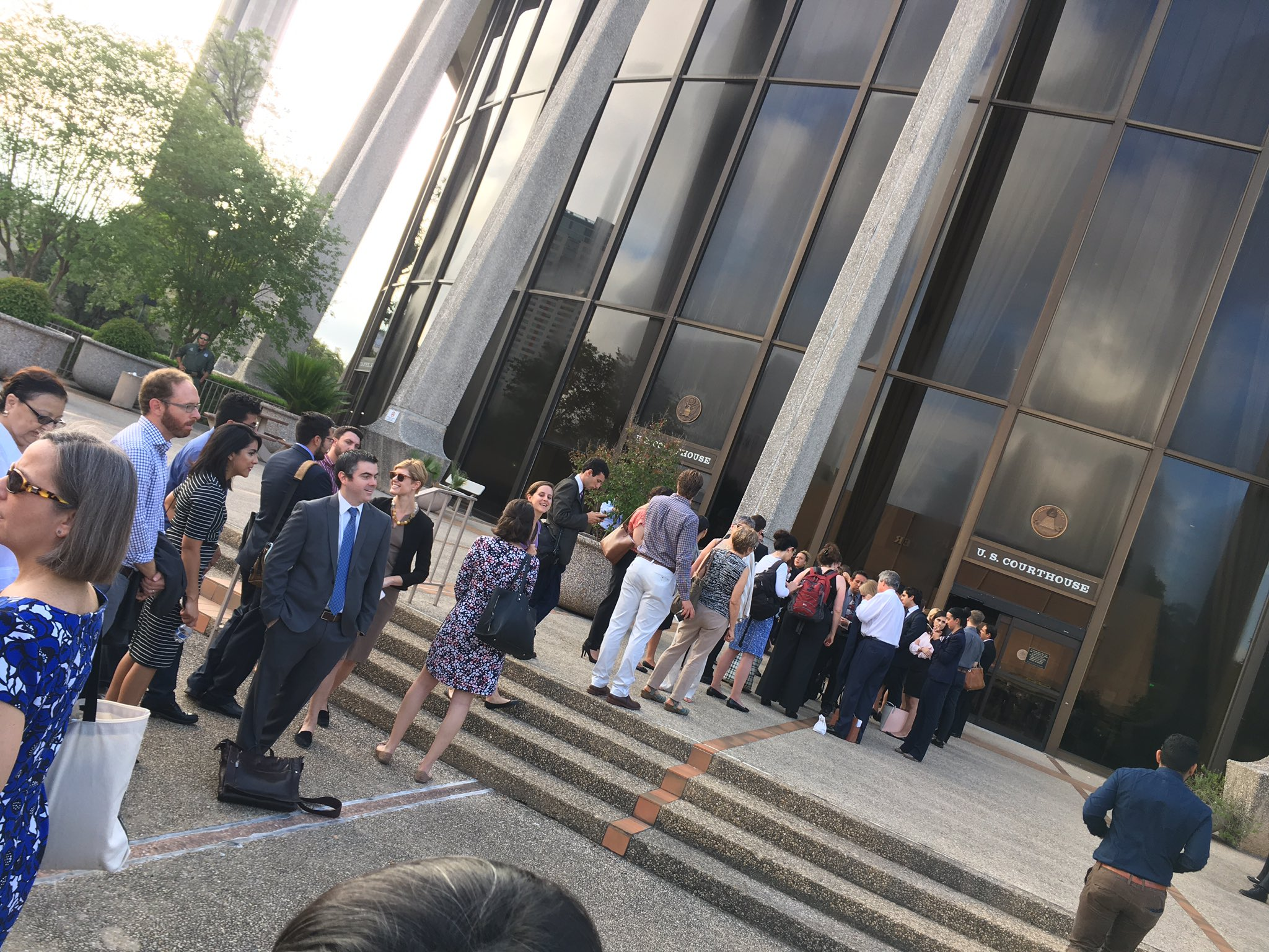 Here's the line of reporters at attorneys/lawmakers waiting to get into the #SB4 hearing in San Antonio #txlege https://t.co/0RheoEXnRD
