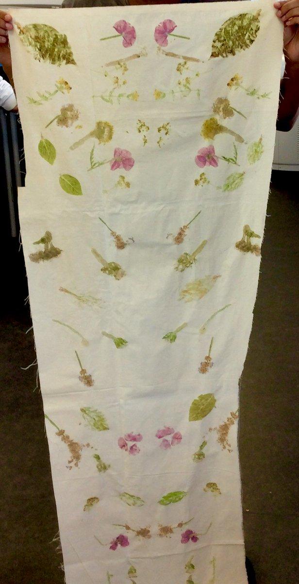 Hammer #printing #SummerFlowers on unbleached cotton by 12M #handmade #HandmadeAtHighshore<br>http://pic.twitter.com/4GZiGcxW7w