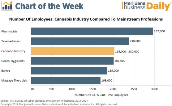 Chart: Cannabis industry employs 165,000-plus workers  http:// dlvr.it/PQB7Hq  &nbsp;   #Featured #Marijuana_Industry_Data_and_Charts<br>http://pic.twitter.com/LPV3POm7rD