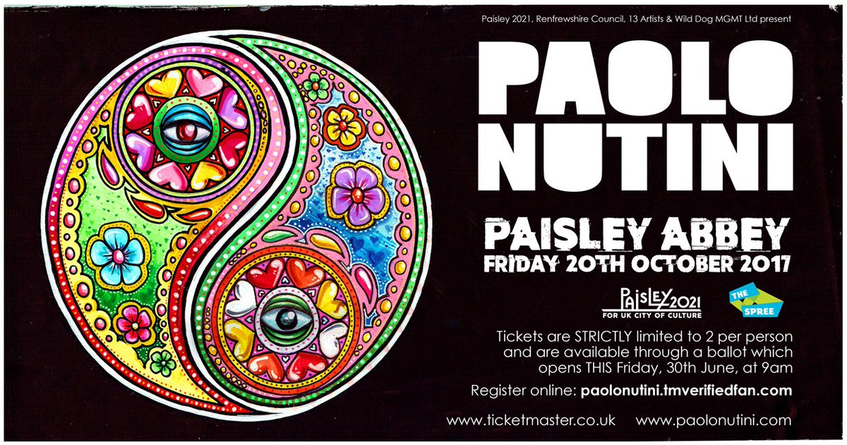 Huge news - @PaoloNutini will headline @SpreeFestival 2017 with a special homecoming charity gig at Paisley Abbey! paisley2021.co.uk/news/paolo-nut…