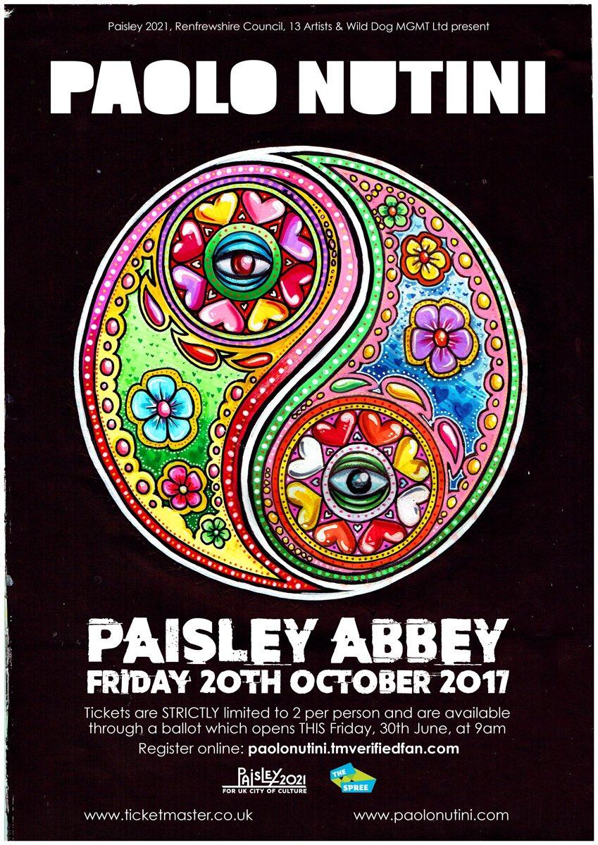 Paolo plays The Spree on Fri 17 Oct as part of Paisleys UK City of Culture 2021 Bid. Tckts via ballot this Fri 9am paolonutini.tmverifiedfan.com