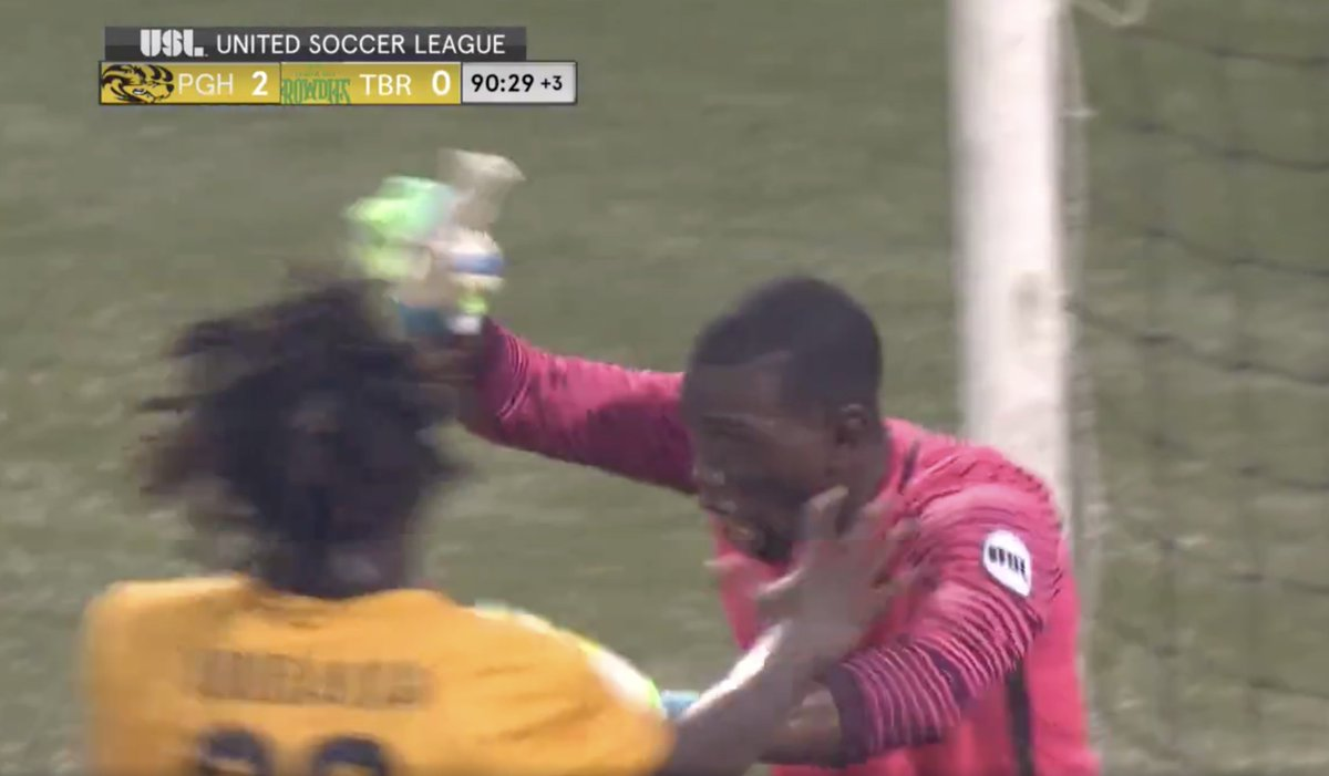 Pittsburgh Riverhounds goalkeeper makes ridiculous 91st minute triple...