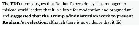 Foundation for Defense of Democracies (@FDD) urges #Trump admin to meddle in #Iran&#39;s elections. The irony is lovely.  http://www. politico.com/story/2017/06/ 25/trump-iran-foreign-policy-regime-change-239930 &nbsp; … <br>http://pic.twitter.com/U2ZuzG8qcu