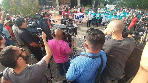 """""""We will not accept overt racism embedded in #SB4. Not today not ever."""" @LUPE_rgv outside of the courthouse to #BlockSB4 #SB4isHate https://t.co/iAYPoHMKPI"""