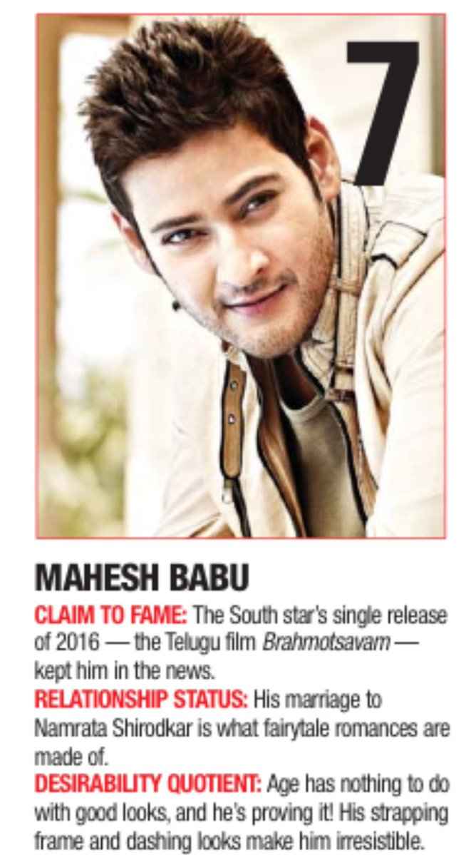 #ForeverDesirableMAHESH Only South Indian in the Top10. &#39;The Most Desirable Men of 2016&#39; The dashing #MaheshBabu #MB <br>http://pic.twitter.com/RaHBtpEYY3