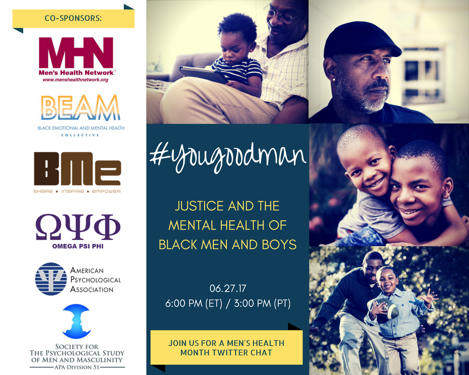 Join our chat on the justice system's impact on #mentalhealth of Black men & boys - tmrw at 6 PM (ET) #YouGoodMan https://t.co/iF8XIsr86Z https://t.co/20mJw3IgfY