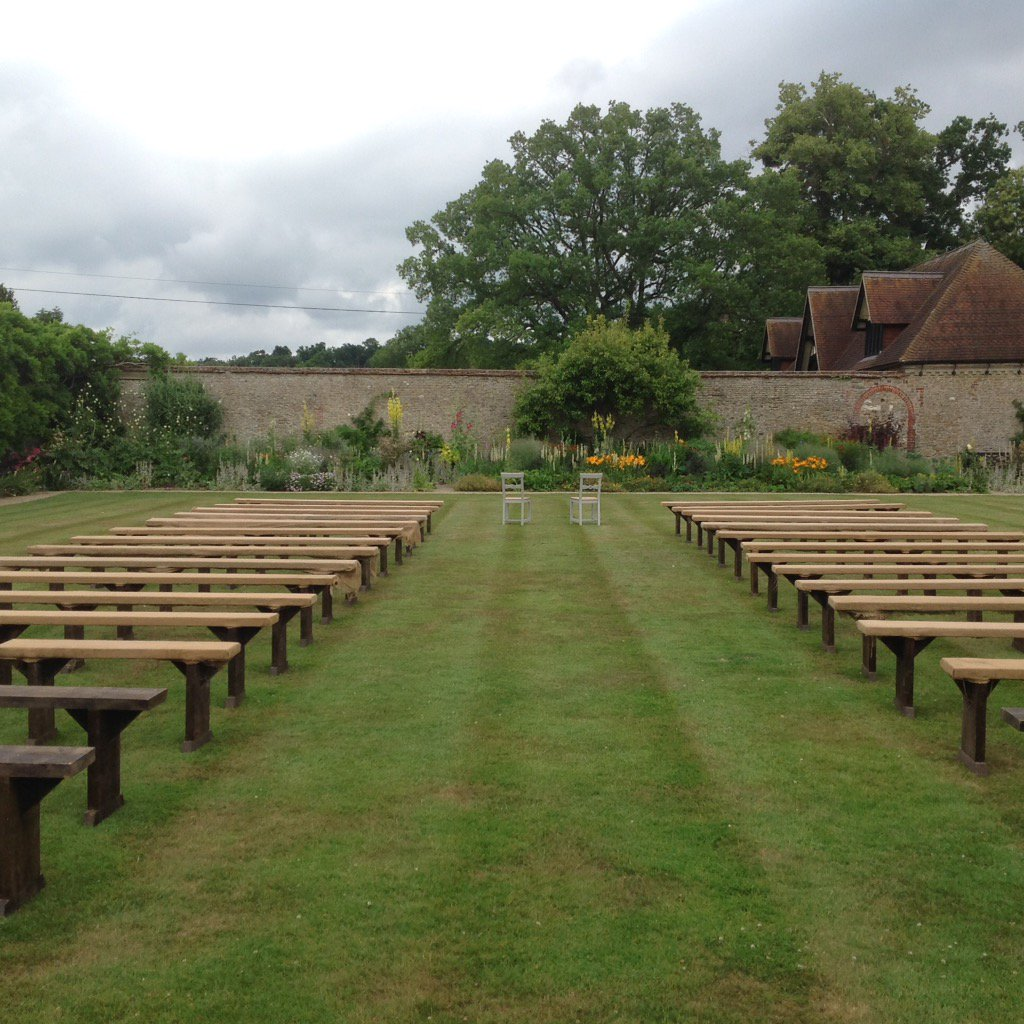 Wonderful outdoors ceremony took place on our Tennis Lawn in the #walled gardens @LoseleyPark