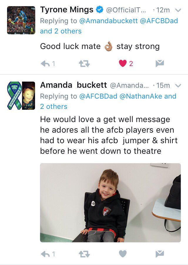 Thanks to @OfficialTM_3 for sending @Amandabuckett a lovely message for Jacob for when he comes out of his operation. He will love it. #afcb <br>http://pic.twitter.com/HdtpqHadA9