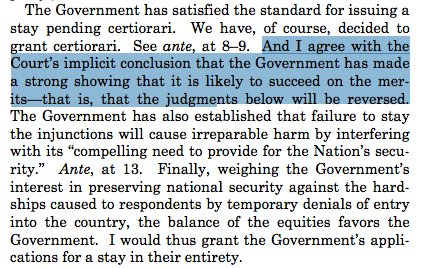 Gorsuch, Thomas and Alito sign a concurring opinion effectively announcing they'll rule to uphold the ban