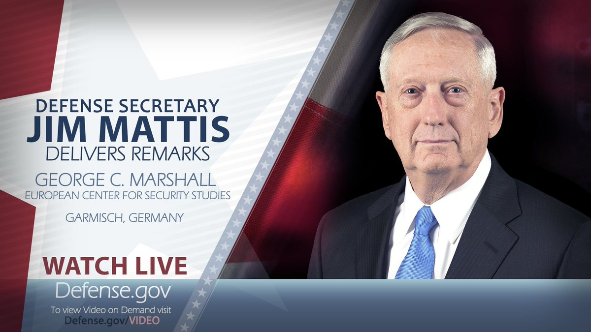 WATCH LIVE: #SecDef Mattis delivers remarks from the @Marshall_Center in Garmisch, #Germany at 5 a.m. EDT on  http:// Defense.gov/live  &nbsp;  .<br>http://pic.twitter.com/qHPm63lWFi