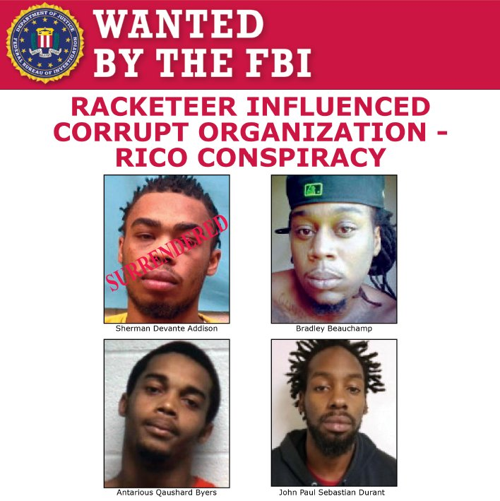 The #FBI is seeking 3 members of the United Blood Nation gang - Beauchamp, Byers, &amp; Durant - on RICO charges.  https://www. fbi.gov/wanted/cei/rico  &nbsp;  <br>http://pic.twitter.com/0EZy4UlrBY