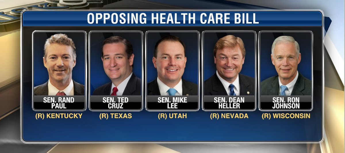 5 senators opposing #GOP senate health bill. Senate Republicans expected to issue revised draft later today @FoxBusiness @LizMacDonaldFOX<br>http://pic.twitter.com/c0ksWXmn8y