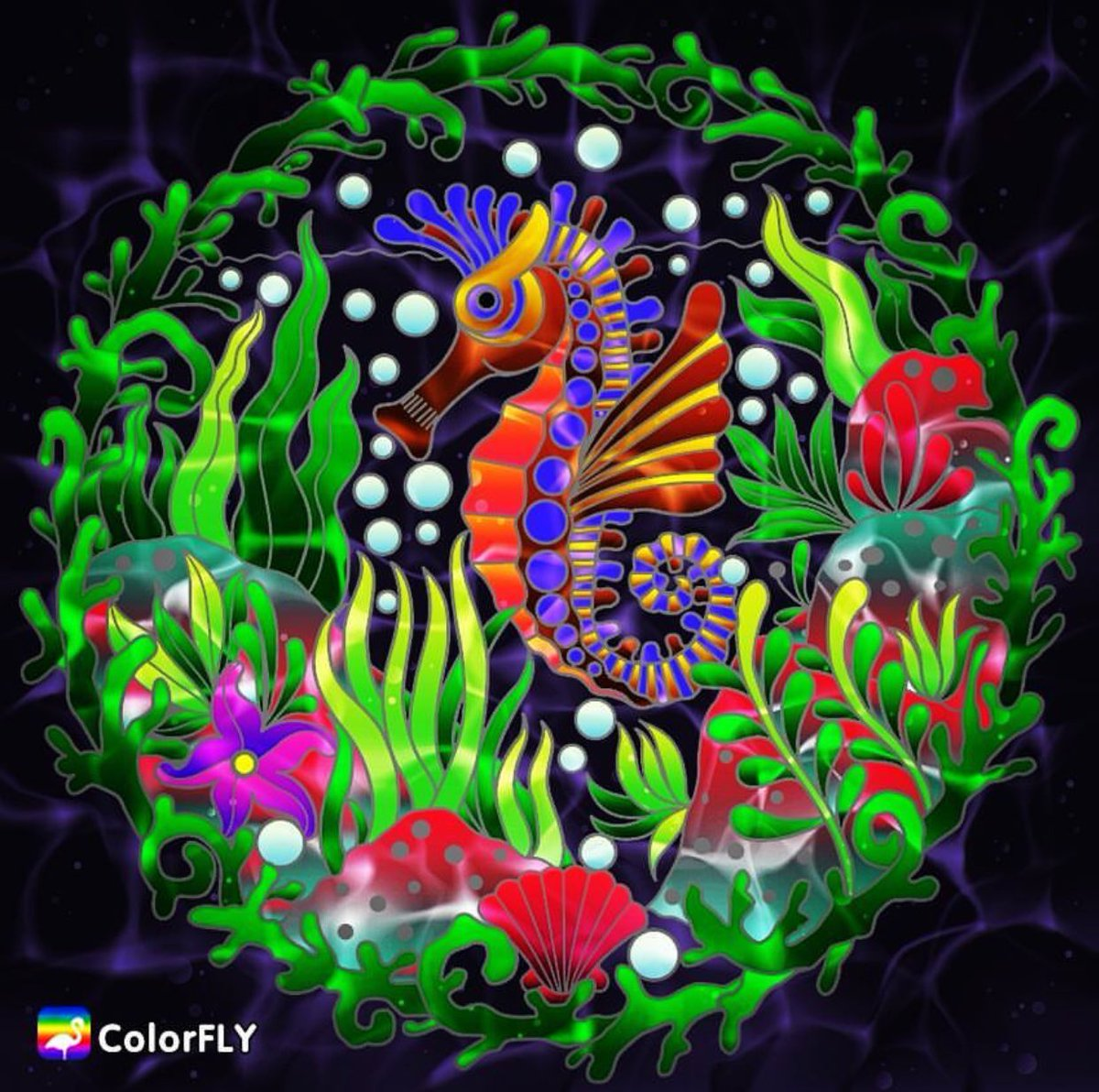 🌟Feature of the Day🌟 A colorful #seahorse from our talented artist @Sh...