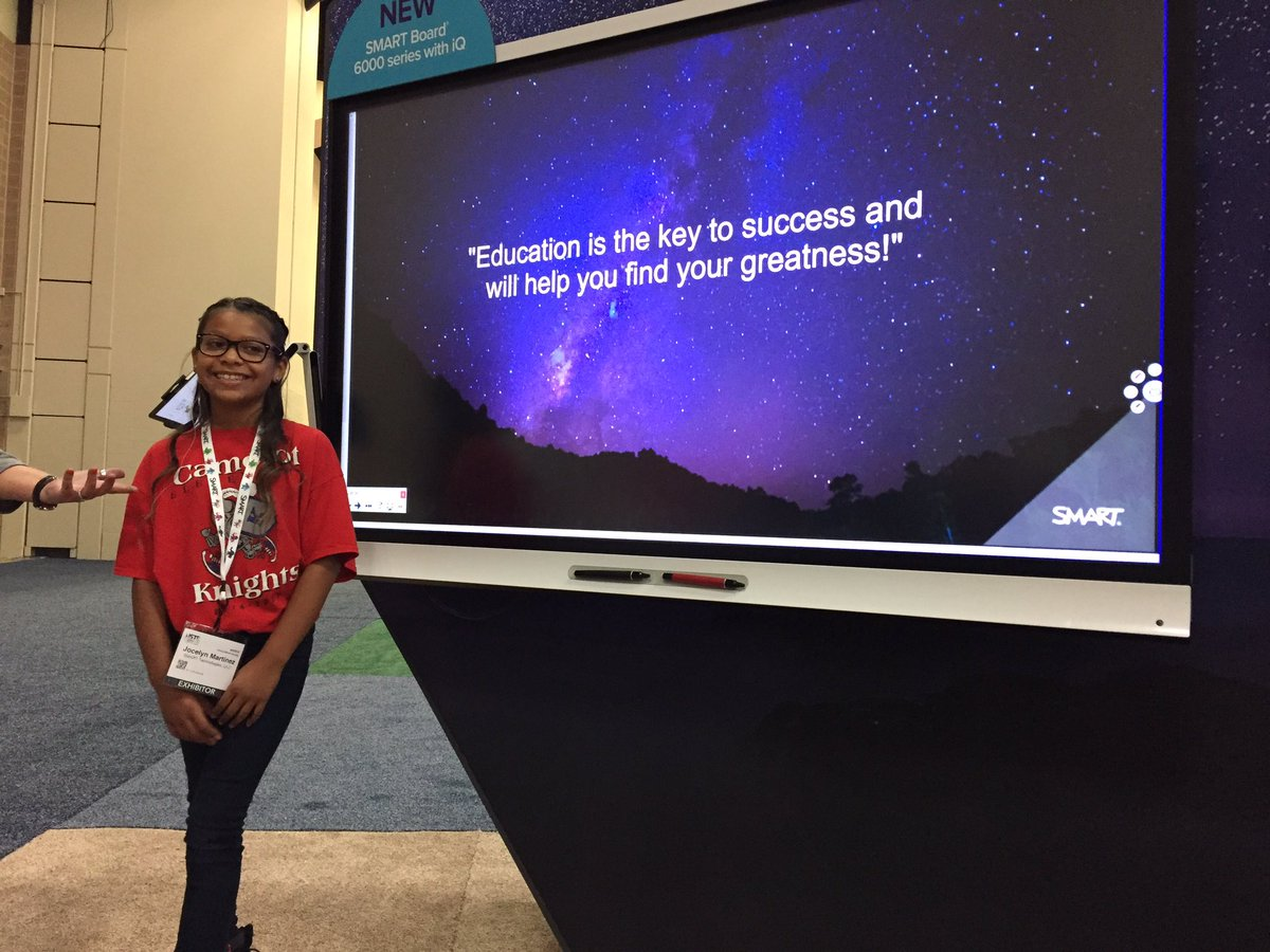 Jocelyn at the #SMART expo is adorable and inspiring! Come visit! #ISTE17<br>http://pic.twitter.com/EYmidpScUu