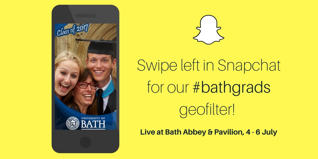 Our Snapchat #Geofilter will be live for all #bathgrads ceremonies next week!<br>http://pic.twitter.com/c9tCU9trUw