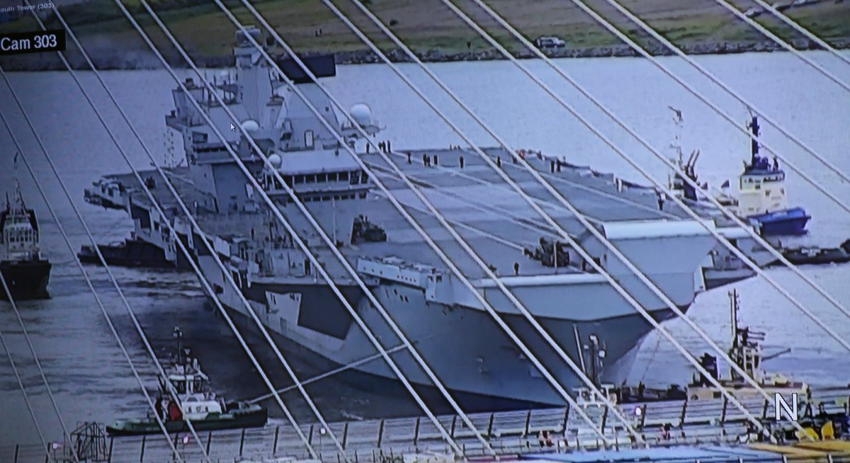 test Twitter Media - Another view of @HMSQnlz from our CCTV camera, looking through the Queensferry Crossing's cables https://t.co/bJLU9OHZuQ