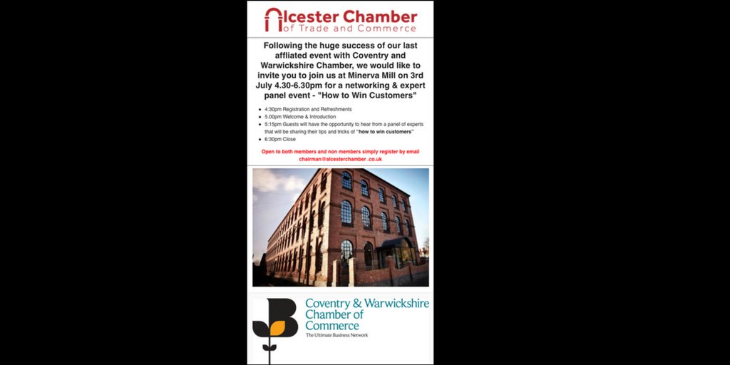 #alcester #networking #expert #sales #warwickshire with @cwchamber 3rd July @minervamill 4.30-6.30pm Free to attend! Non members welcome..<br>http://pic.twitter.com/MpR8zdZmli