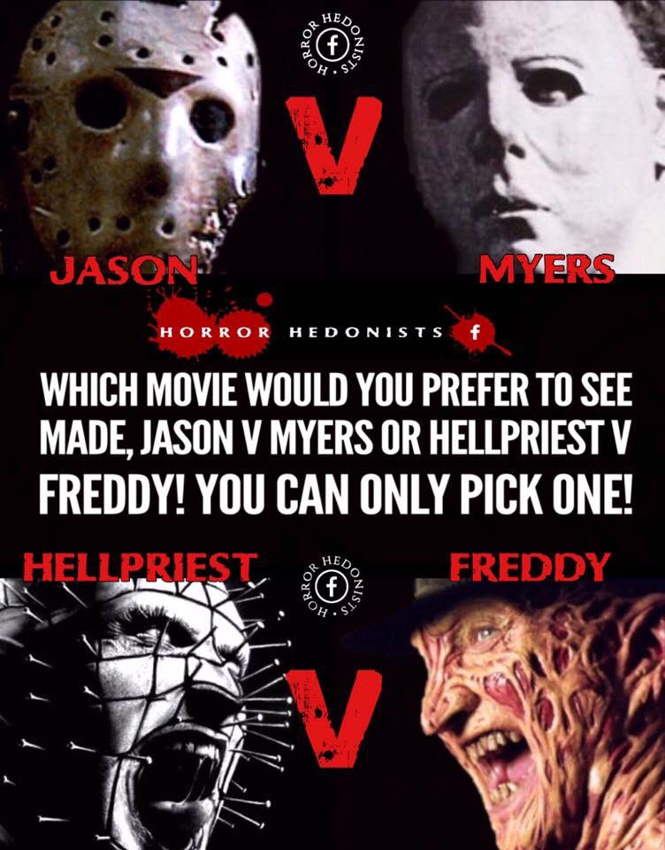 I think I would love to see #FreddyKrueger and #Pinhead (Hellpriest) go at it! @kinky_horror @LolaMurder @tmudder4 @amyyymarie13 @Embalmist<br>http://pic.twitter.com/aJmHBS6rhr