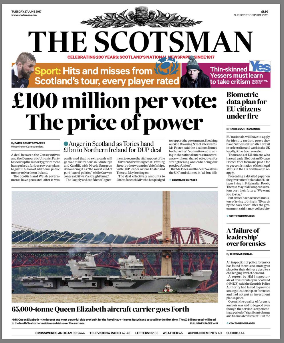 The front page of tomorrow's @TheScotsman #tomorrowspaperstoday #bbcpa...