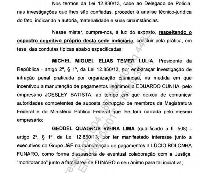 PF aponta q Temer incentivou manutenção d pagamentos ilegítimos a Cunha e deixou de comunicar competentes de suposta corrupção de magistrado