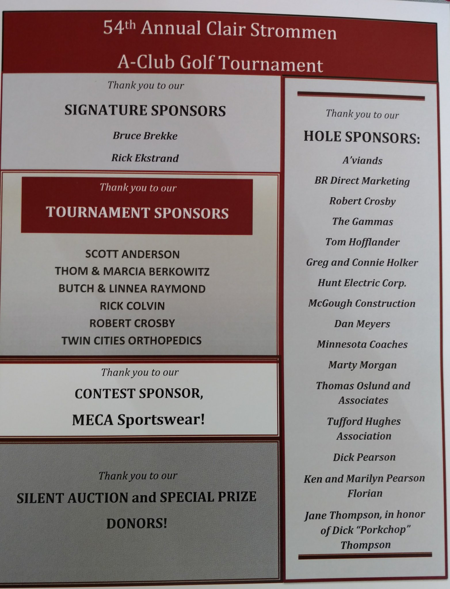 Thank you to all our sponsors for the Augsburg Clair Strommen A-Club Golf Tourney! #AuggiePride https://t.co/GFNmUJGRmr