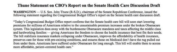 'Today's @USCBO report confirms that the Senate health care bill will soon start lowering premiums for millions of Americans.' @SenJohnThune