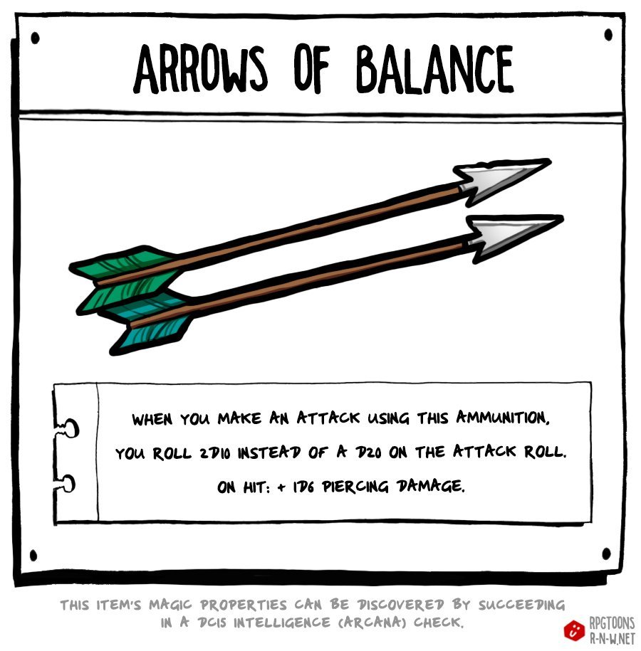 Making an attack roll with these arrows makes it impossible to critically fail, but much harder to critically hit as well  #dnd #loot <br>http://pic.twitter.com/SqVNEMQBQK