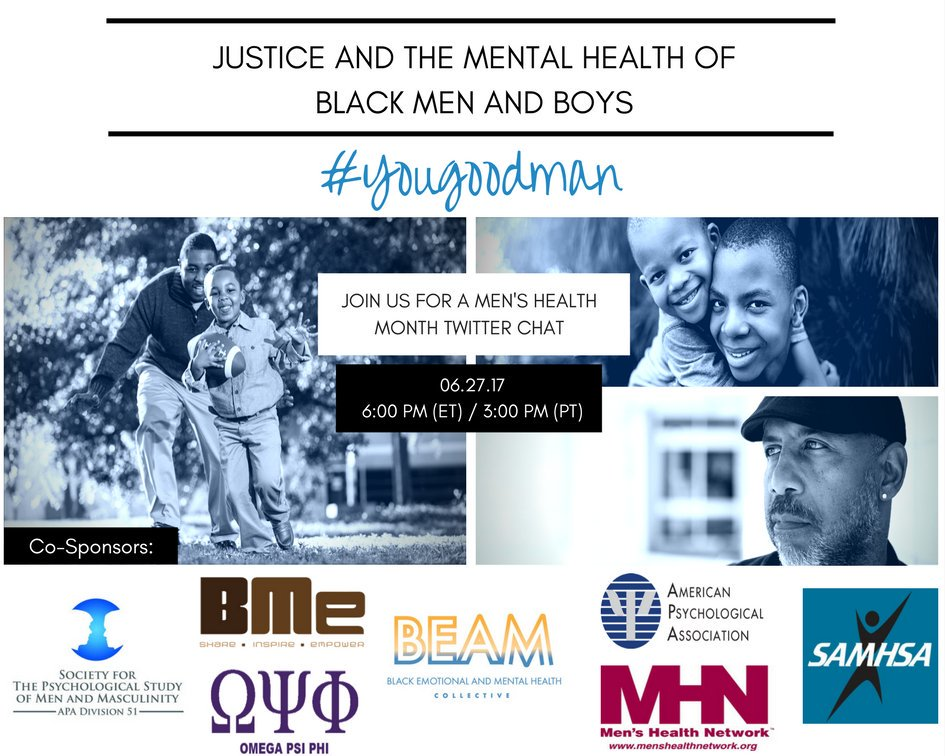 Join us tomorrow at 3pm PST for a crucial twitter chat: Justice & The Mental Health of Black Men & Boys #yougoodman #MensHealthMonth https://t.co/ANq9jKMPGn