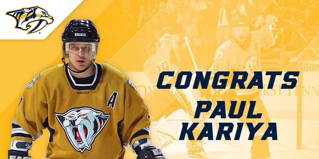 Former #Preds forward Paul Kariya named to the @HockeyHallFame. Congra...