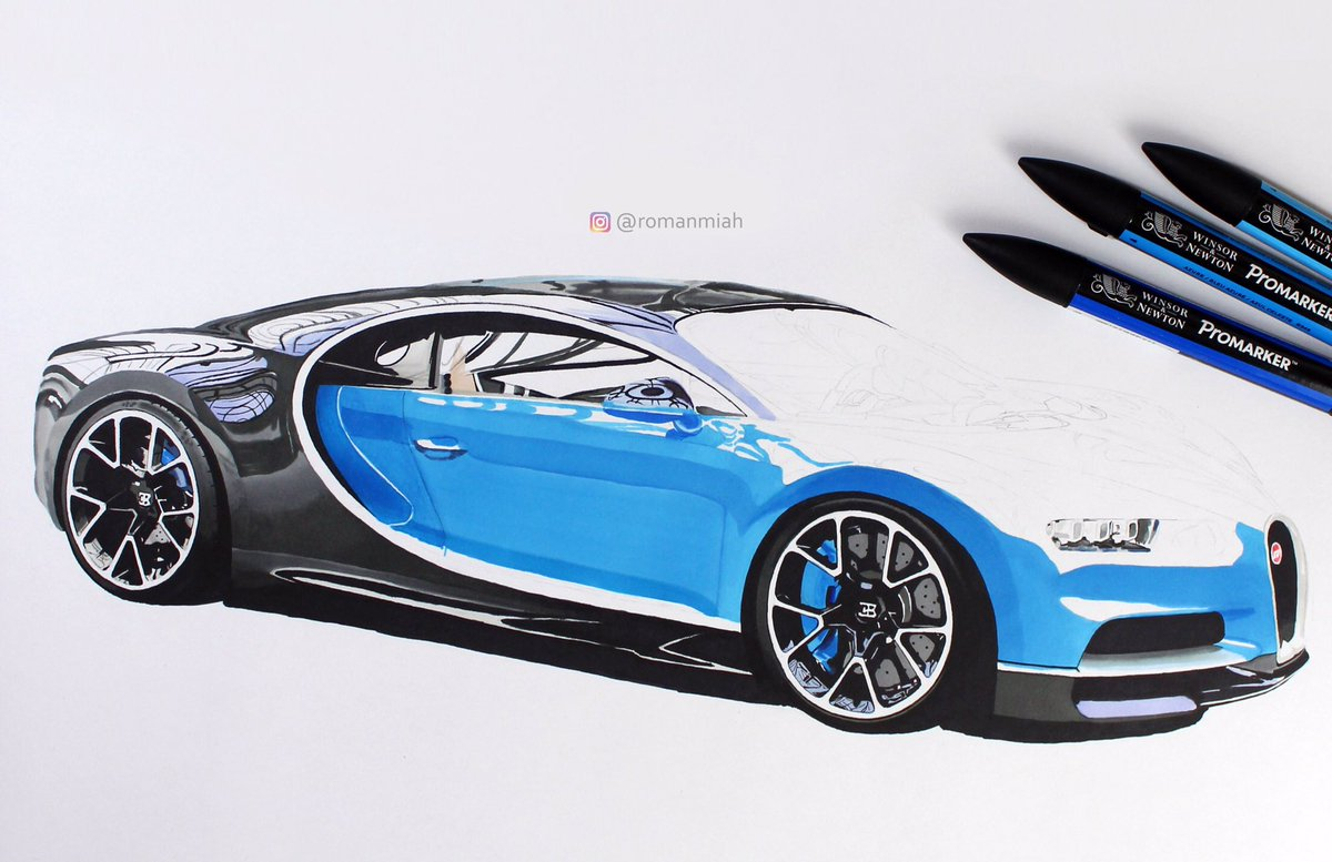 roman miah on twitter drawing of the bugatti chiron using winsorandnewton promarkers and. Black Bedroom Furniture Sets. Home Design Ideas