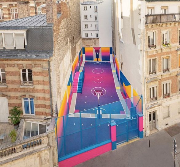 Paris Duperré basketball court art nike