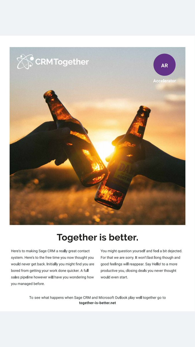 Together is better - #sagecrm and #outlook <br>http://pic.twitter.com/91wOihbM7g