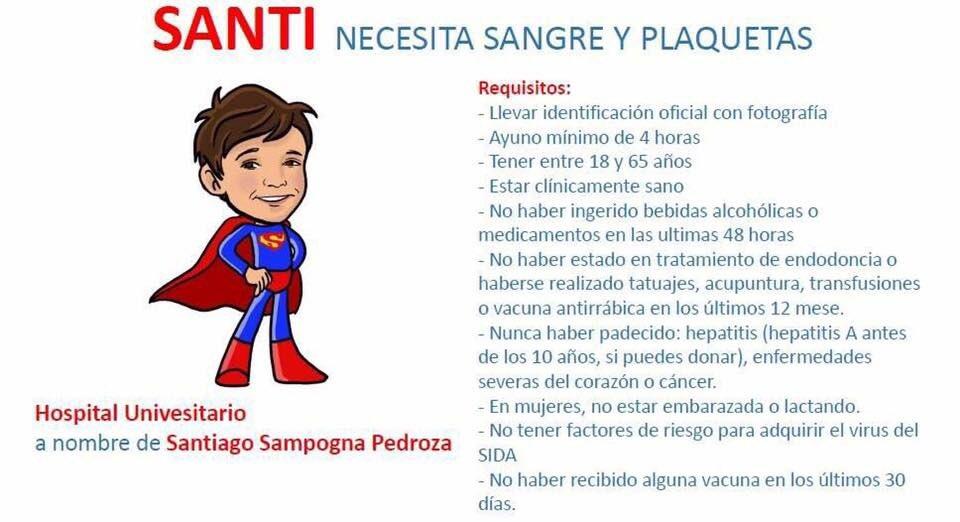 Gente de Monterrey, necesitamos su apoyo para salvar a Santi. RT Por favor! https://t.co/XJRcoeRUXp