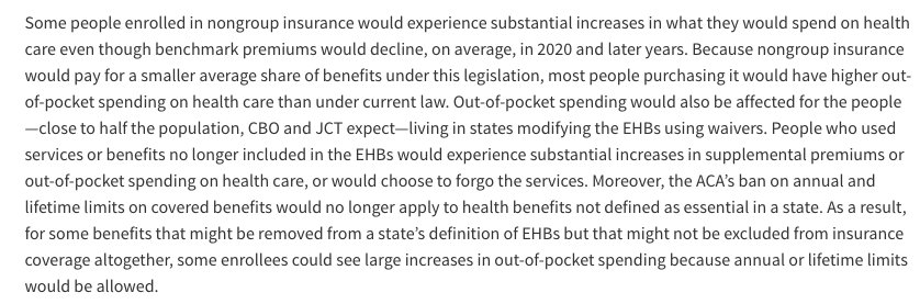 CBO: Out-of-pocket health care spending would go up a lot for some people, esp in red states that got rid of EHBs