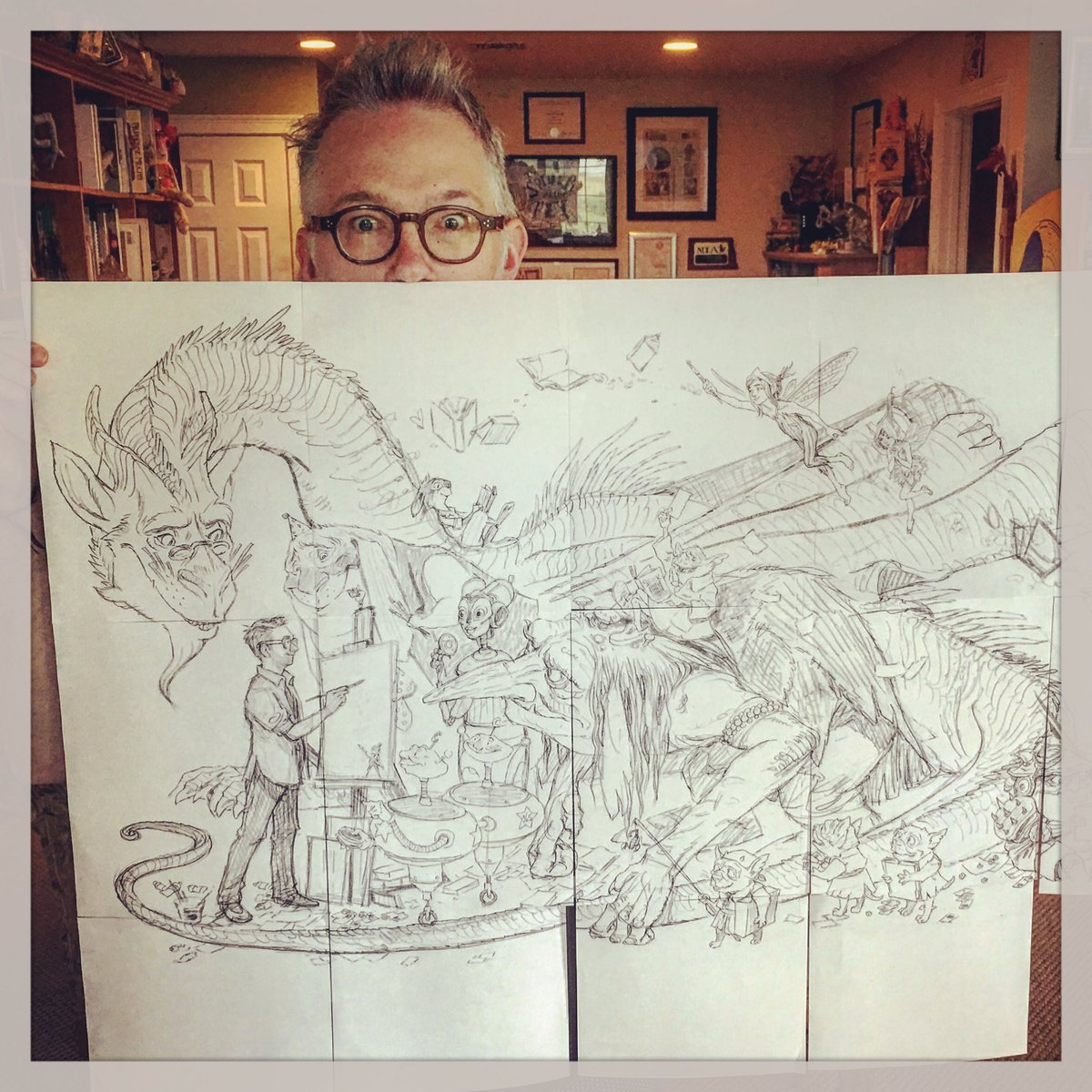 Let&#39;s trace this monster! #drawing #fantasyart @NRockwellMuseum<br>http://pic.twitter.com/UEstNJCwdi