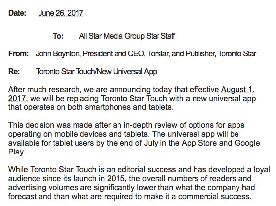 The Toronto Star will be shutting down Star Touch at the end of July:...