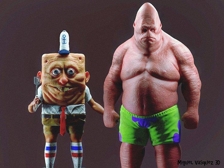 Real Life Versions of SpongeBob and Patrick by 3D character artist Miguel Vasquez  https:// laughingsquid.com/real-life-spon gebob-squarepants-patrick/ &nbsp; …  #spongebob #scary <br>http://pic.twitter.com/sbRVistmLK