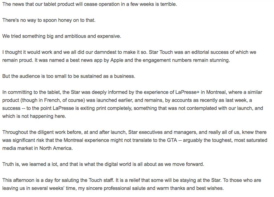 Memo: Toronto Star editor Michael Cooke on Star Touch closure https://...