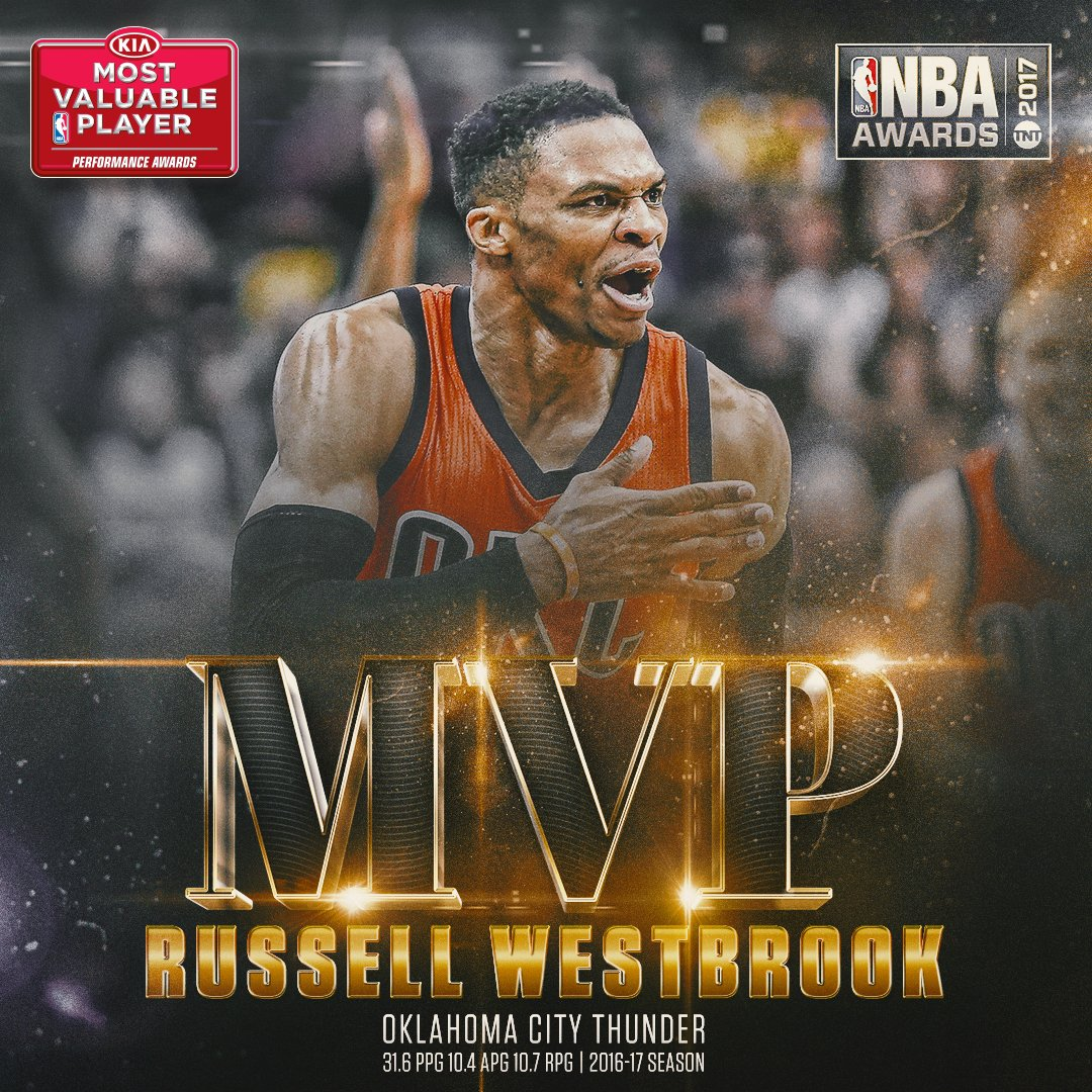 The 2017 @Kia NBA Most Valuable Player is...@russwest44 of the @okcthu...