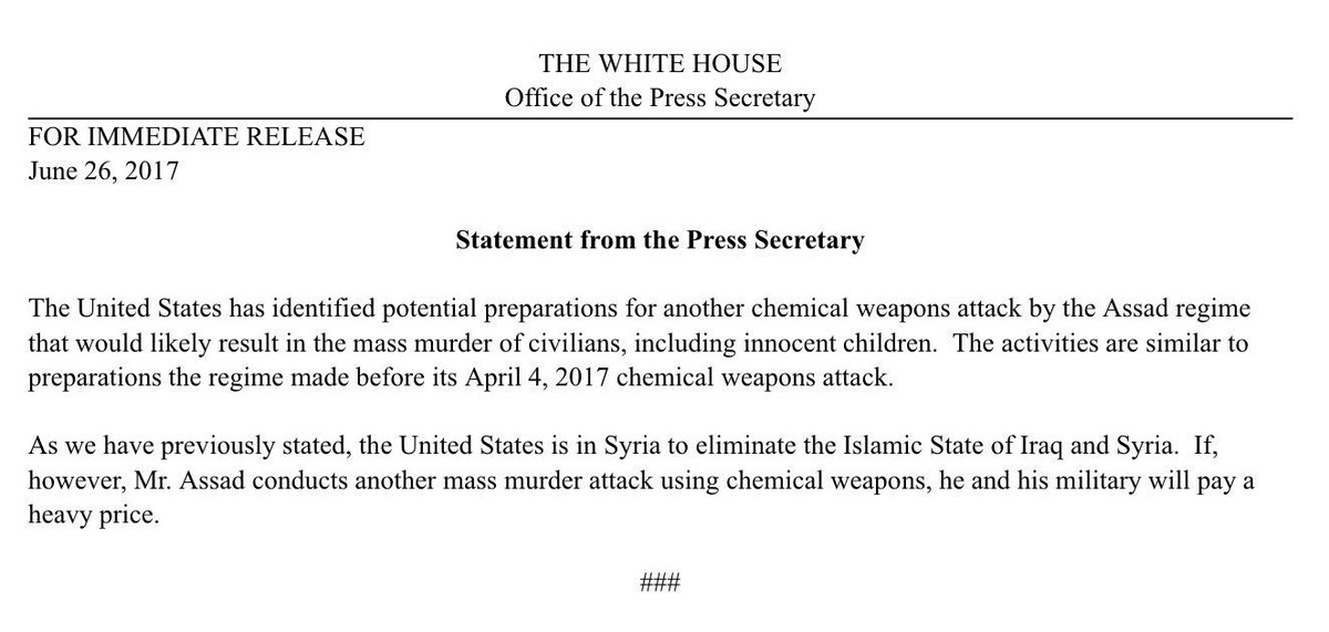 #BREAKING: @PressSec releases statement on Syria preparing to carry out another potential chemical attack.<br>http://pic.twitter.com/p2yz476a03