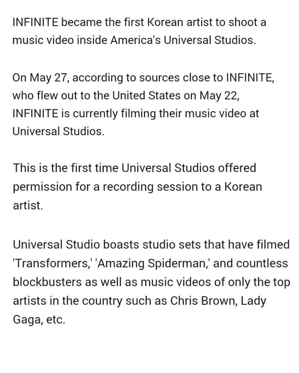 #INFINITE became the first Korean artist to shoot a music video inside America&#39;s Universal Studios. And released Block-buster Level Teaser <br>http://pic.twitter.com/5iooYF6JY8