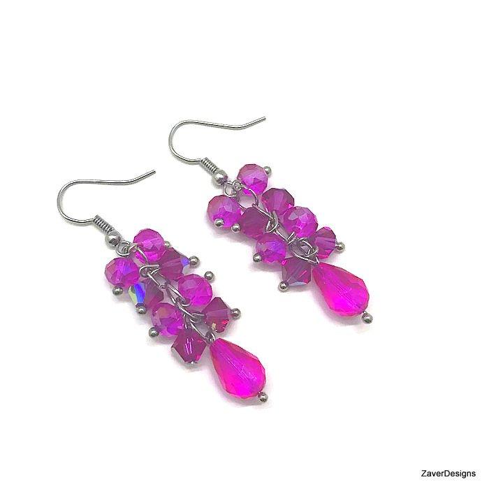 Fuchsia crystal cluster earrings #epiconetsy #Pink #handmade #fashionstyle #etsymntt #Jewelry  https://www. etsy.com/zaverdesigns/l isting/246304712 &nbsp; … <br>http://pic.twitter.com/B863ApZjLA