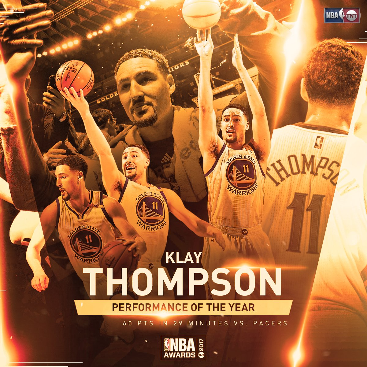 Klay Thompson wins the fan vote for Performance of the Year! #NBAAward...